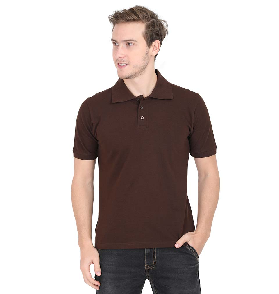 Plain Brown Polo/Collar T-Shirt For Men