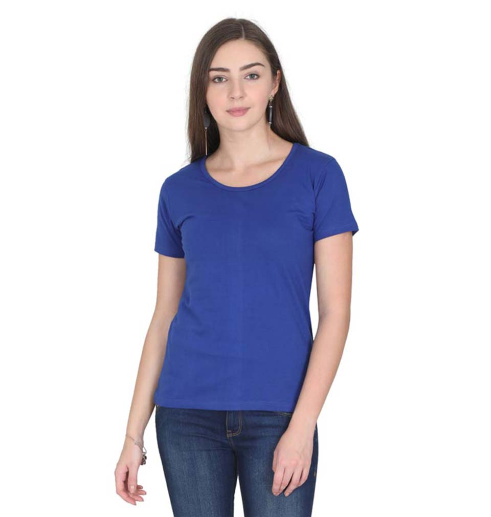 Plain Royal Blue Half Sleeves T-Shirt for Women