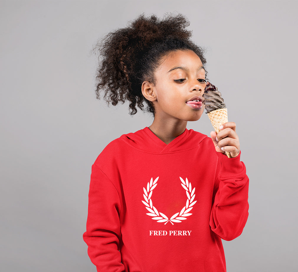 Fred Perry Hoodie for Girl-0-1 Year(22 Inches)-Red-ektarfa.com
