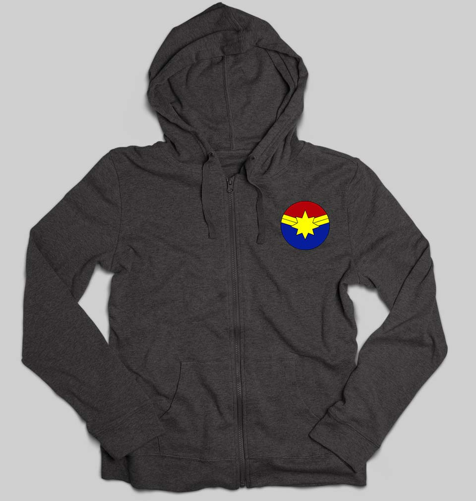 Captain marvel logo Unisex Zipper Hoodie For Men/Women-S(38Inches)-Charcoal-ektarfa.com