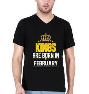 Kings Are Born In February V Neck T-Shirt for Men-XL(44 Inches)-Black-ektarfa.com