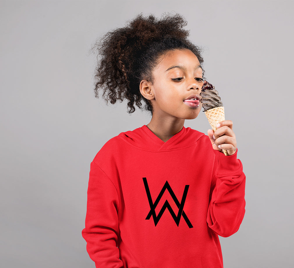 Alan Walker Logo Hoodie for Girl-0-1 Year(22 Inches)-Red-ektarfa.com