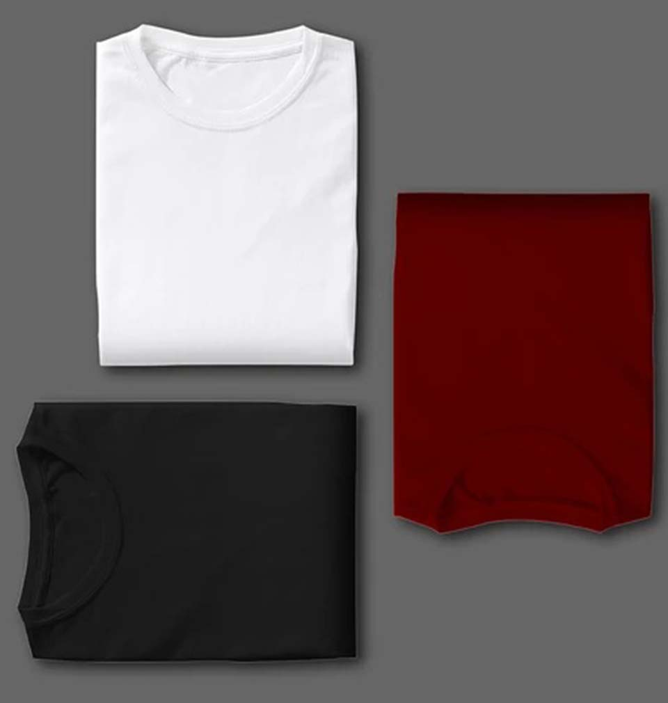 MAROON BLACK WHITE COMBO HALF SLEEVE T-SHIRTS [PACK OF 3]