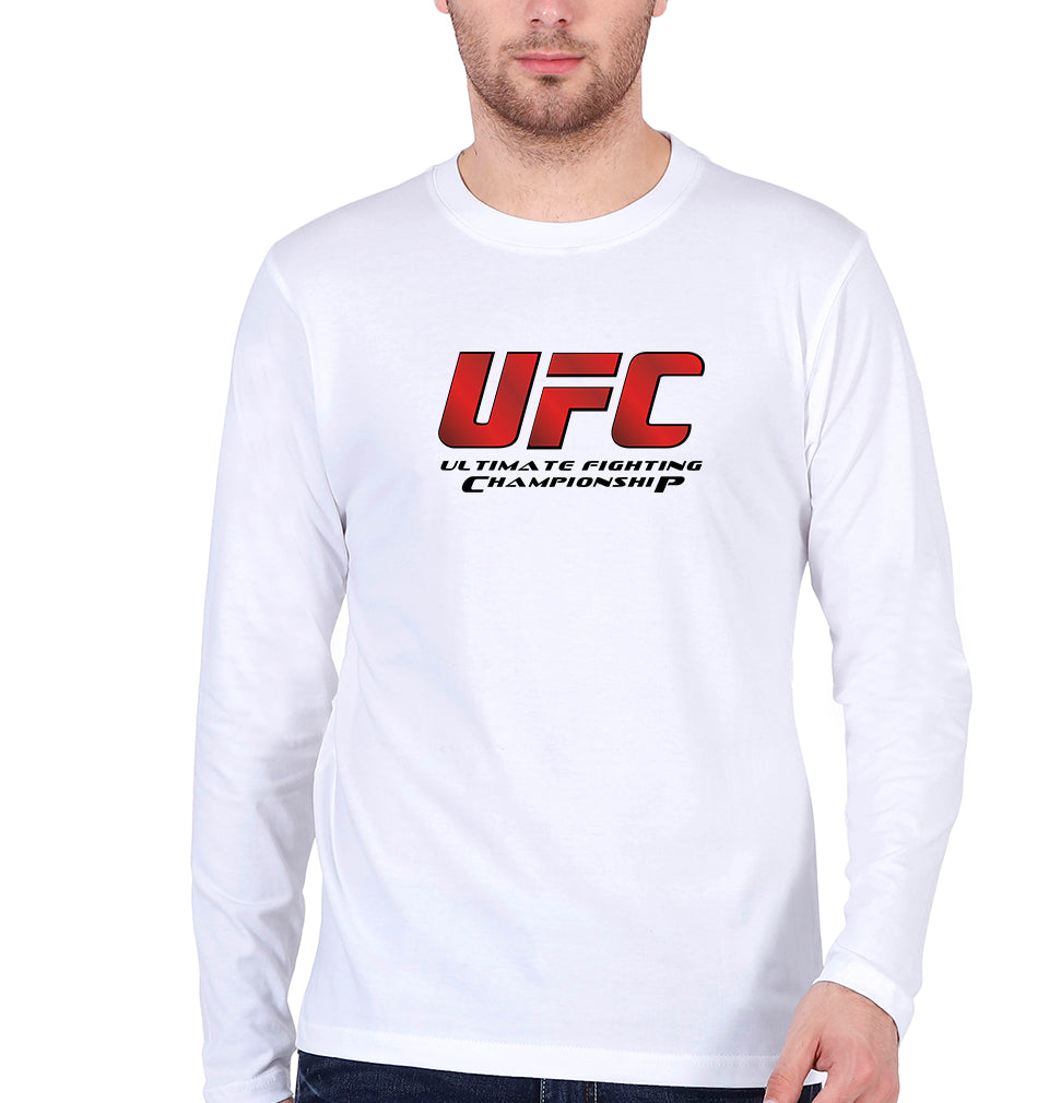 UFC Full Sleeves T-Shirt for Men-S(38 Inches)-White-ektarfa.com