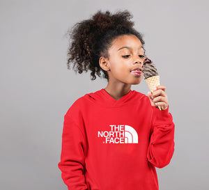 The Noth Face Hoodie for Girl-0-1 Year(22 Inches)-Red-ektarfa.com