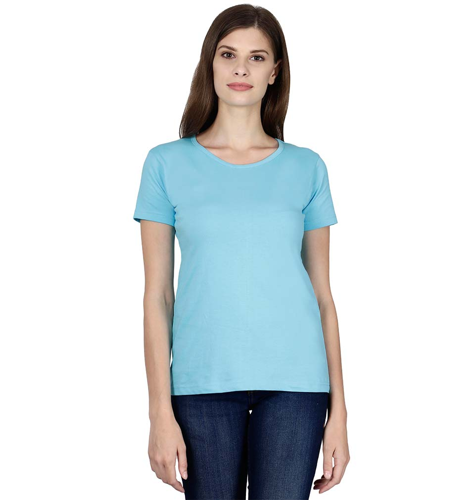 Plain Sky Blue Half Sleeves T-Shirt for Women