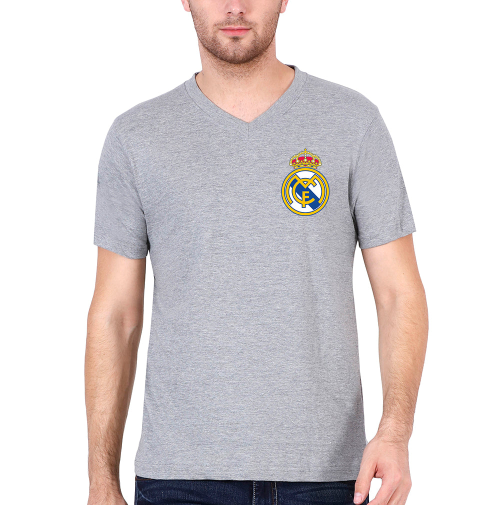 Real Madrid Logo V Neck T-Shirt for Men