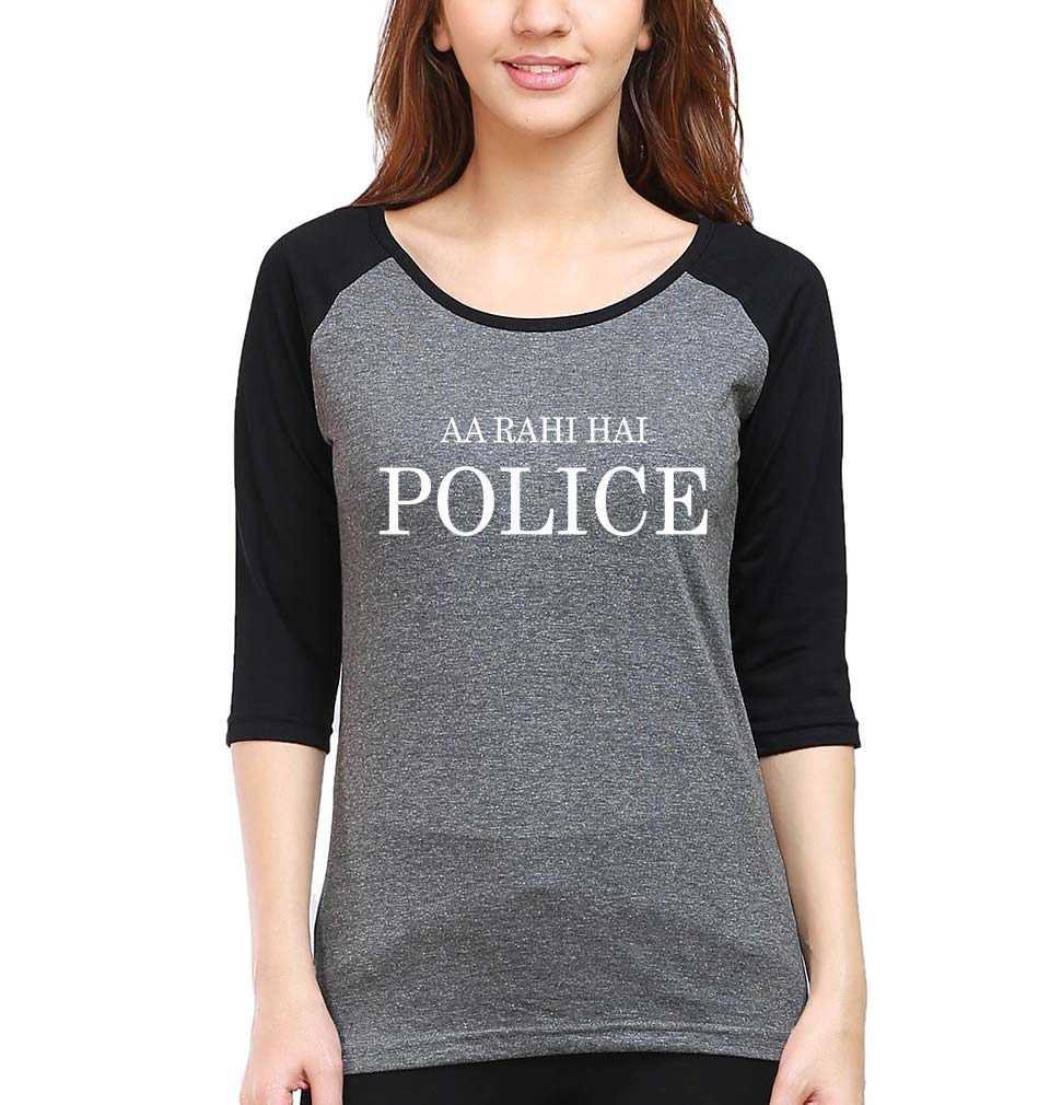 AA Rahi Hai Police Full Sleeves Raglan T-Shirt for Women