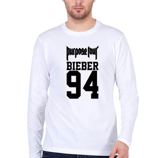 Purpose Tour Bieber Full Sleeves T-Shirt for Men-S(38 Inches)-White-ektarfa.com