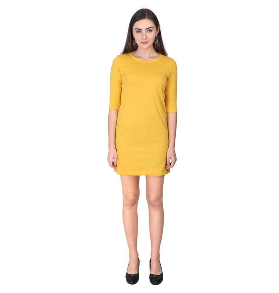 Plain Yellow Long Top/Dress for Women