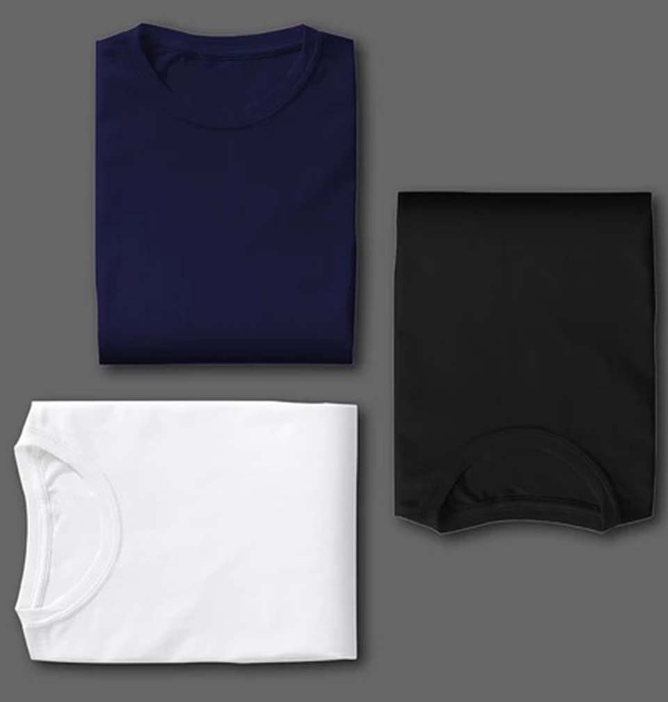 NAVY BLACK WHITE COMBO HALF SLEEVE T-SHIRTS [PACK OF 3]
