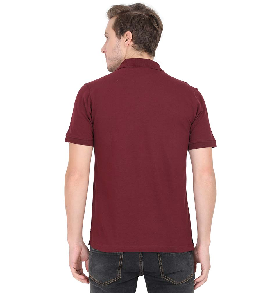Plain Maroon Polo/Collar T-Shirt For Men