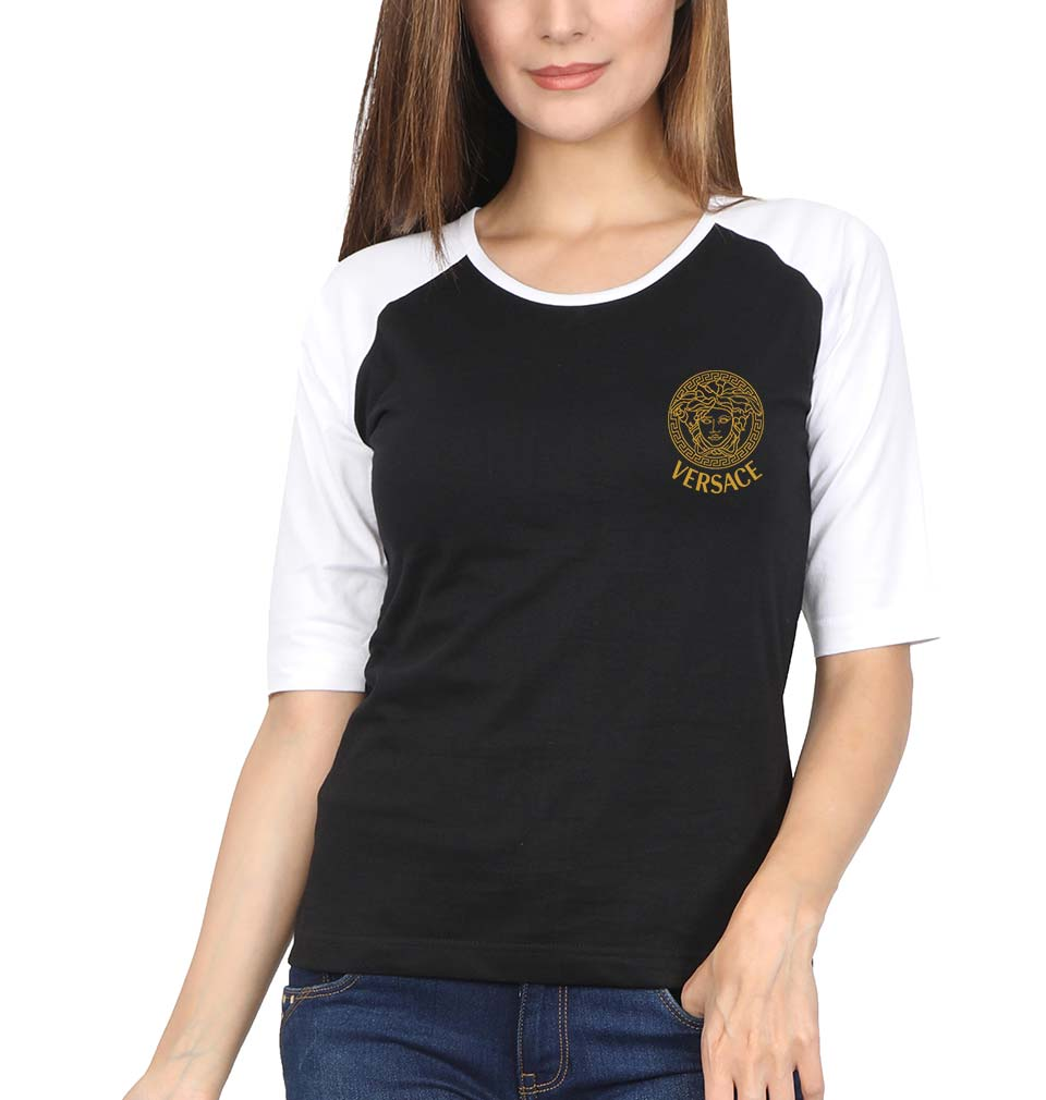 Versace Logo Full Sleeves Raglan T-Shirt for Women