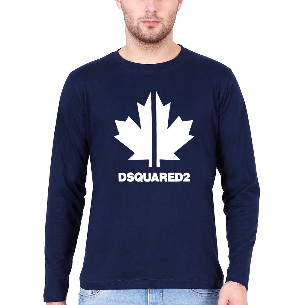 DSQUARED2 Full Sleeves T-Shirt for Men-S(38 Inches)-Navy Blue-ektarfa.com