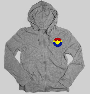 Captain marvel logo Unisex Zipper Hoodie For Men/Women-S(38Inches)-Grey Melange-ektarfa.com