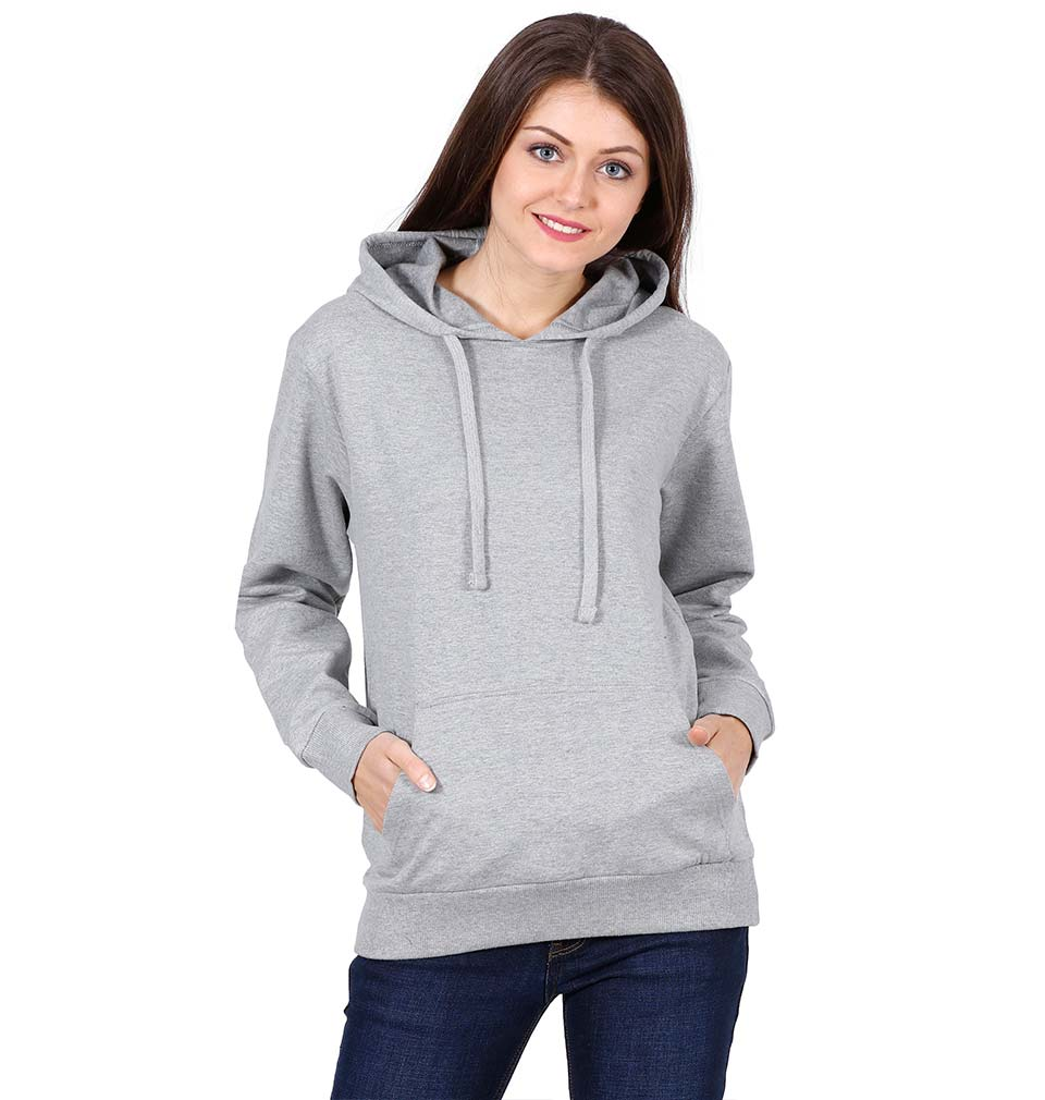 Plain Grey Hoodie Sweatshirt for Women