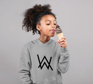 Alan Walker Logo Hoodie for Girl-0-1 Year(22 Inches)-Grey-ektarfa.com