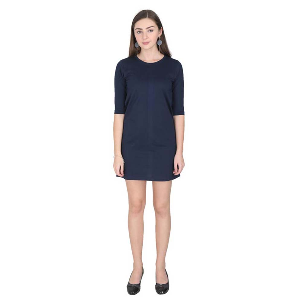 Plain Navy Blue Long Top/Dress for Women
