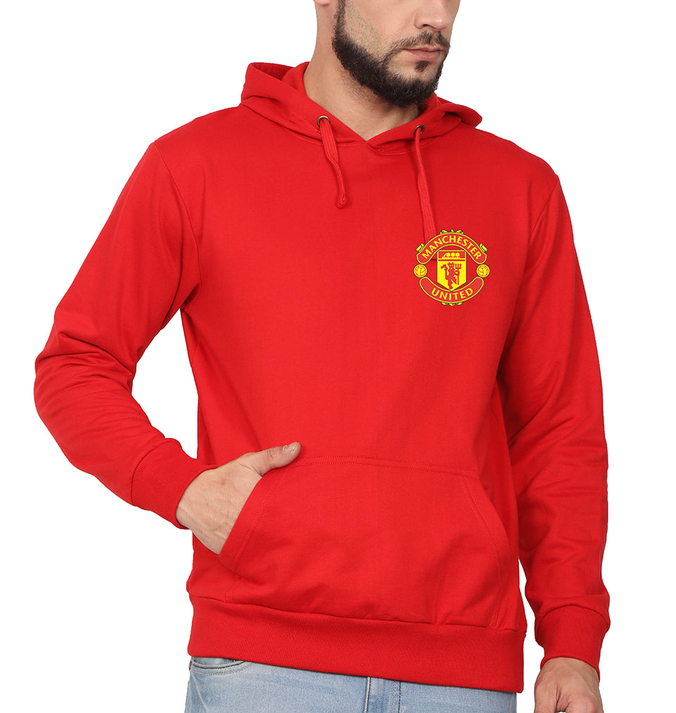 Manchester United Logo Hoodie for Men-S(40 Inches)-Red-ektarfa.com