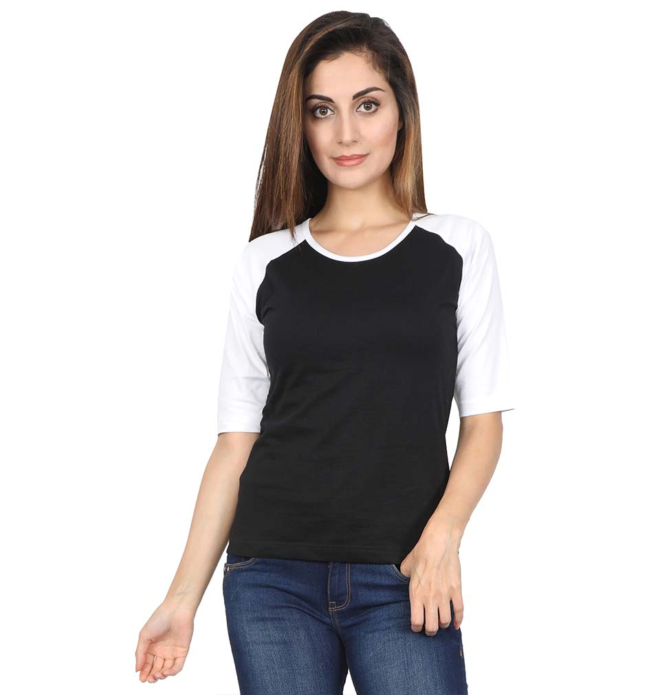 Plain White-Black Raglan Full Sleeves T-Shirt For Women