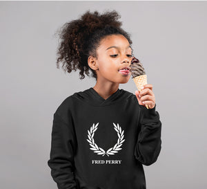Fred Perry Hoodie for Girl-0-1 Year(22 Inches)-Black-ektarfa.com