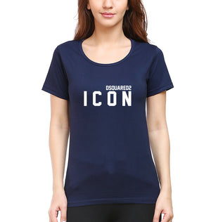 DSQUARED - ICON T-Shirt for Women-XS(32 Inches)-Navy Blue-ektarfa.com