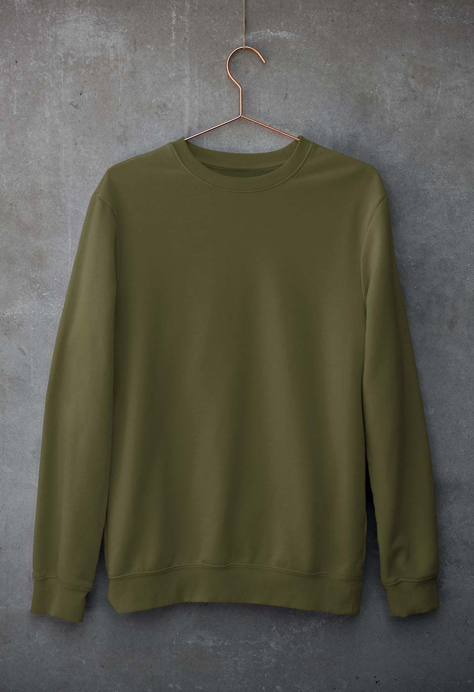 Plain Olive Green Unisex Sweatshirt for Men/Women