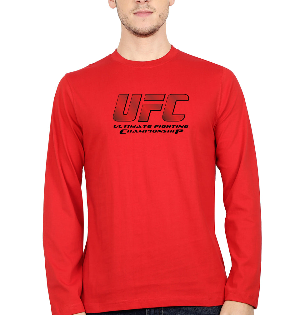 UFC Full Sleeves T-Shirt for Men-S(38 Inches)-Red-ektarfa.com