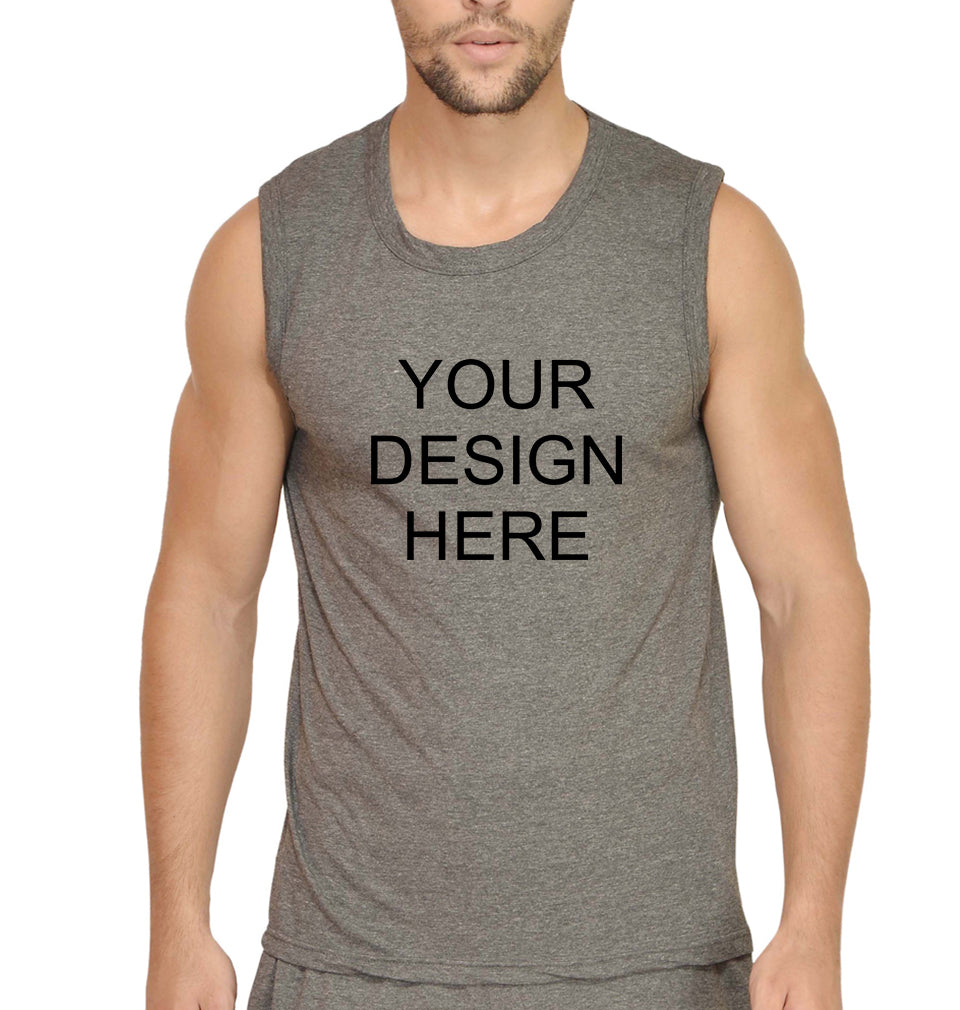 Customized-Custom-Personalized Sleeveless T-Shirt for Men-S(38 Inches)-Charcoal-ektarfa.com