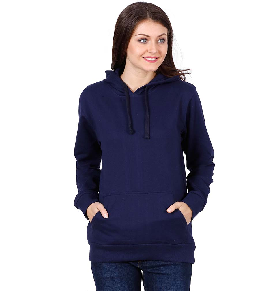 Plain Navy Blue Hoodie Sweatshirt for Women