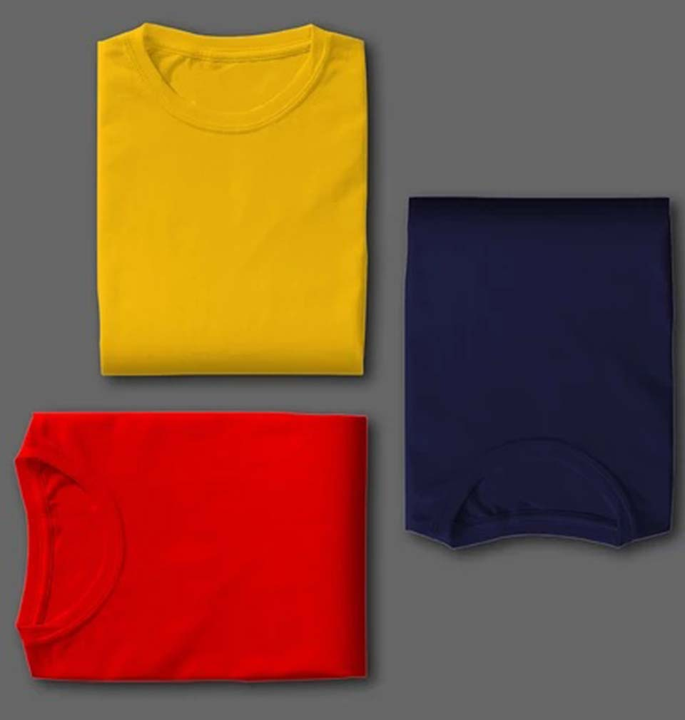 NAVY YELLOW RED COMBO HALF SLEEVE T-SHIRTS [PACK OF 3]-ektarfa.com
