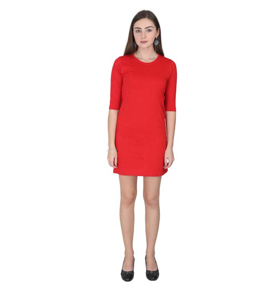 Plain Red Long Top/Dress for Women