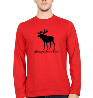 Abercrombie & Fitch Full Sleeves T-Shirt for Men-S(38 Inches)-Red-ektarfa.com