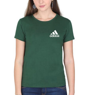 Adidas Logo T-Shirt for Women-XS(32 Inches)-Dark Green-ektarfa.com