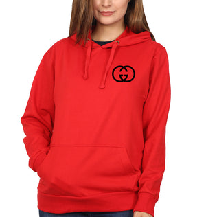 Gucci Logo Hoodie for Women-S(40 Inches)-Red-ektarfa.com