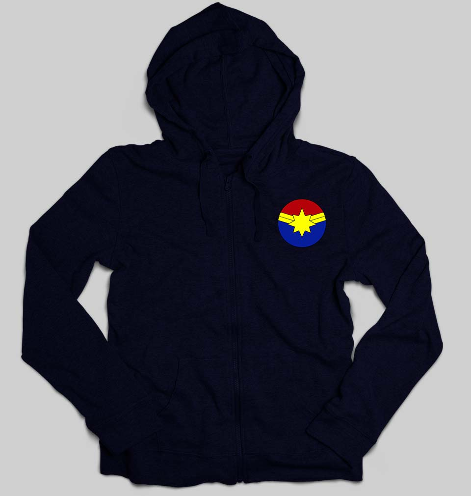 Captain marvel logo Unisex Zipper Hoodie For Men/Women-S(38Inches)-Navy Blue-ektarfa.com