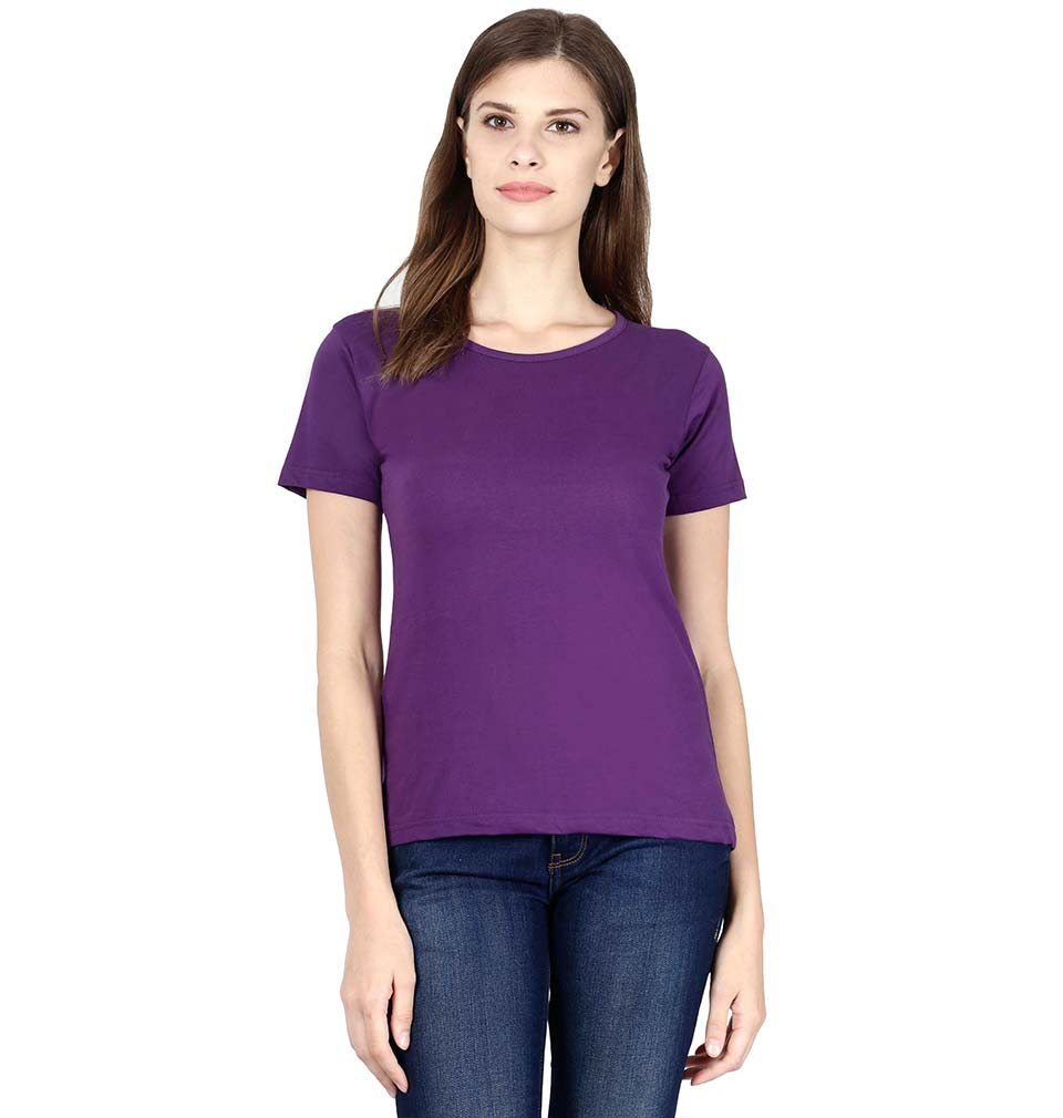 Plain Purple Half Sleeves T-Shirt for Women