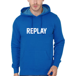 Replay Hoodie for Men-S(40 Inches)-Royal Blue-ektarfa.com