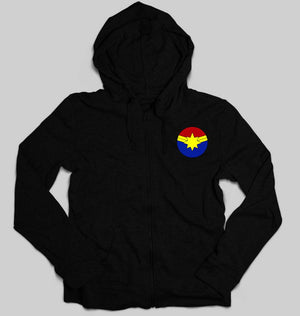 Captain marvel logo Unisex Zipper Hoodie For Men/Women-S(38Inches)-Black-ektarfa.com