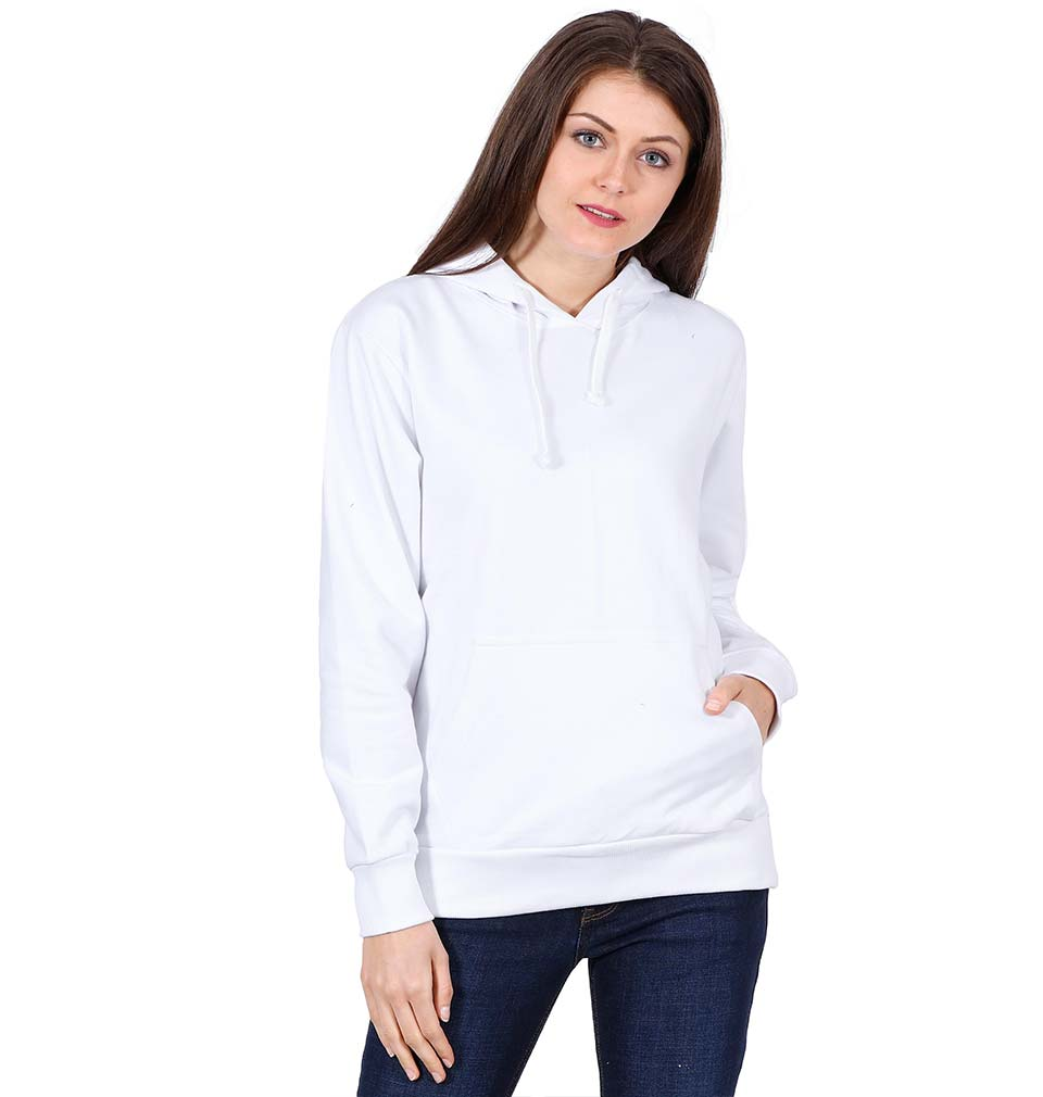 Plain White Hoodie Sweatshirt for Women