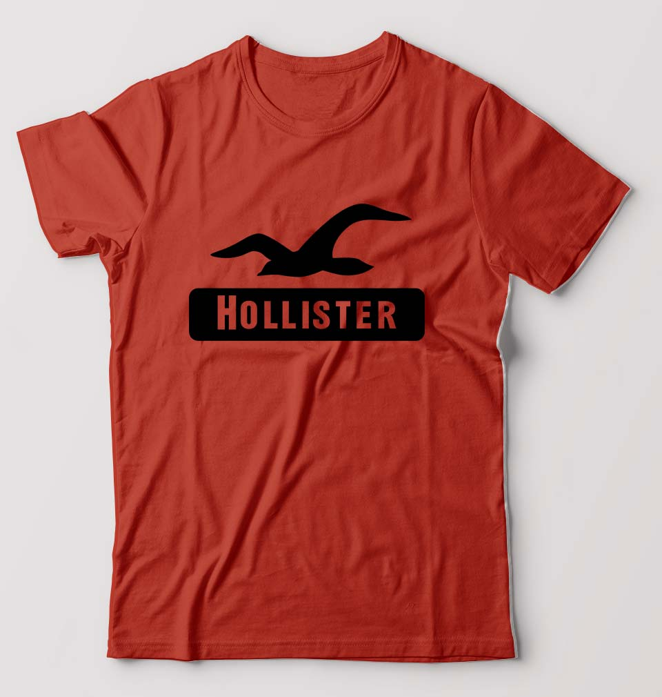 Hollister T-Shirt for Men-S(38 Inches)-Brick Red-ektarfa.com