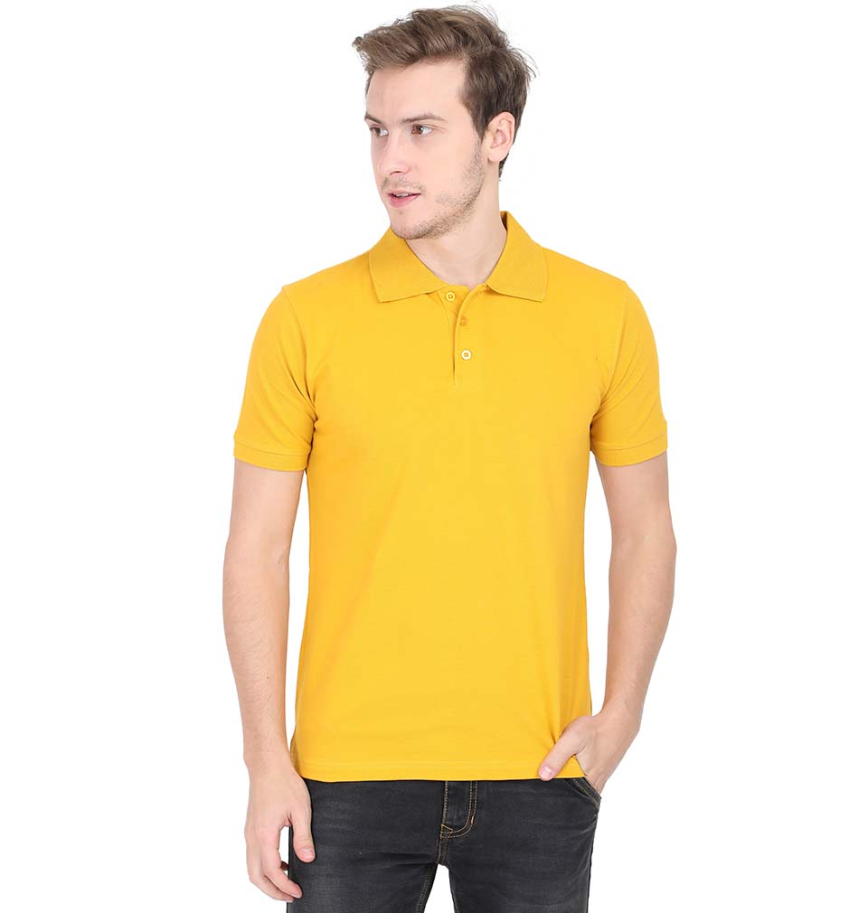 Plain Yellow Polo/Collar T-Shirt For Men