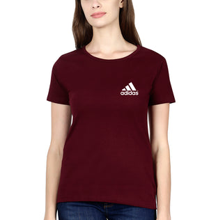 Adidas Logo T-Shirt for Women-XS(32 Inches)-Maroon-ektarfa.com