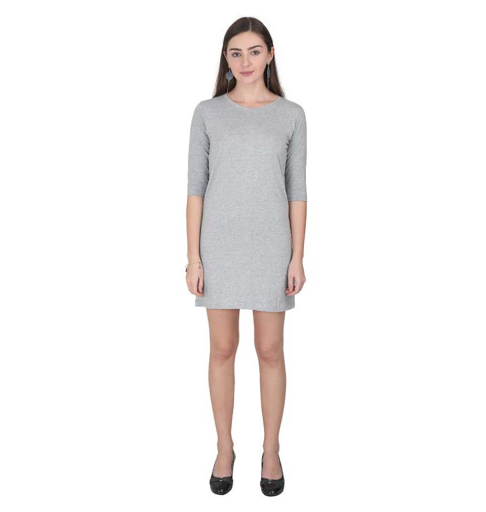 Plain Grey Long Top/Dress for Women