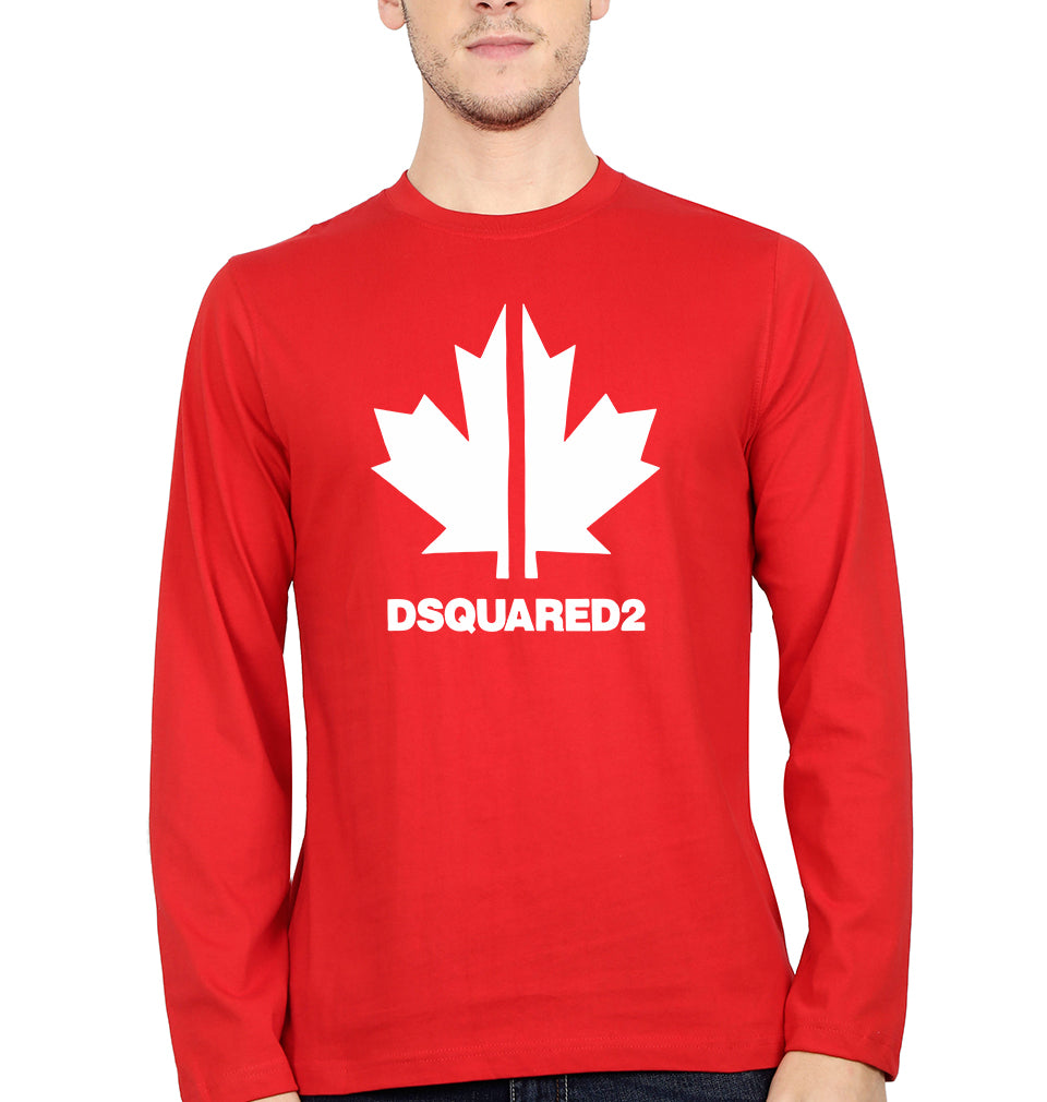 DSQUARED2 Full Sleeves T-Shirt for Men-S(38 Inches)-Red-ektarfa.com