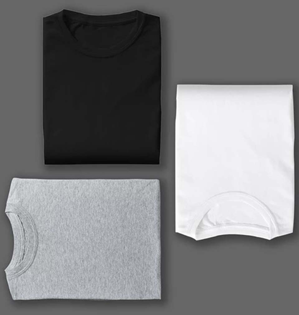 BLACK WHITE GREY COMBO HALF SLEEVE T-SHIRTS [PACK OF 3]
