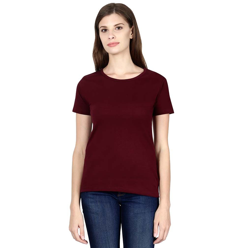 Plain Maroon Half Sleeves T-Shirt for Women