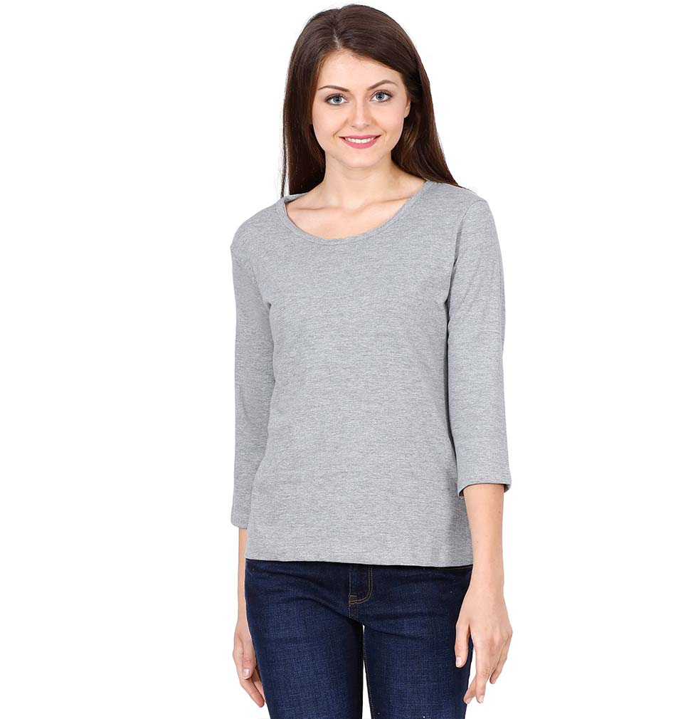 Plain Grey Full Sleeves T-Shirt for Women