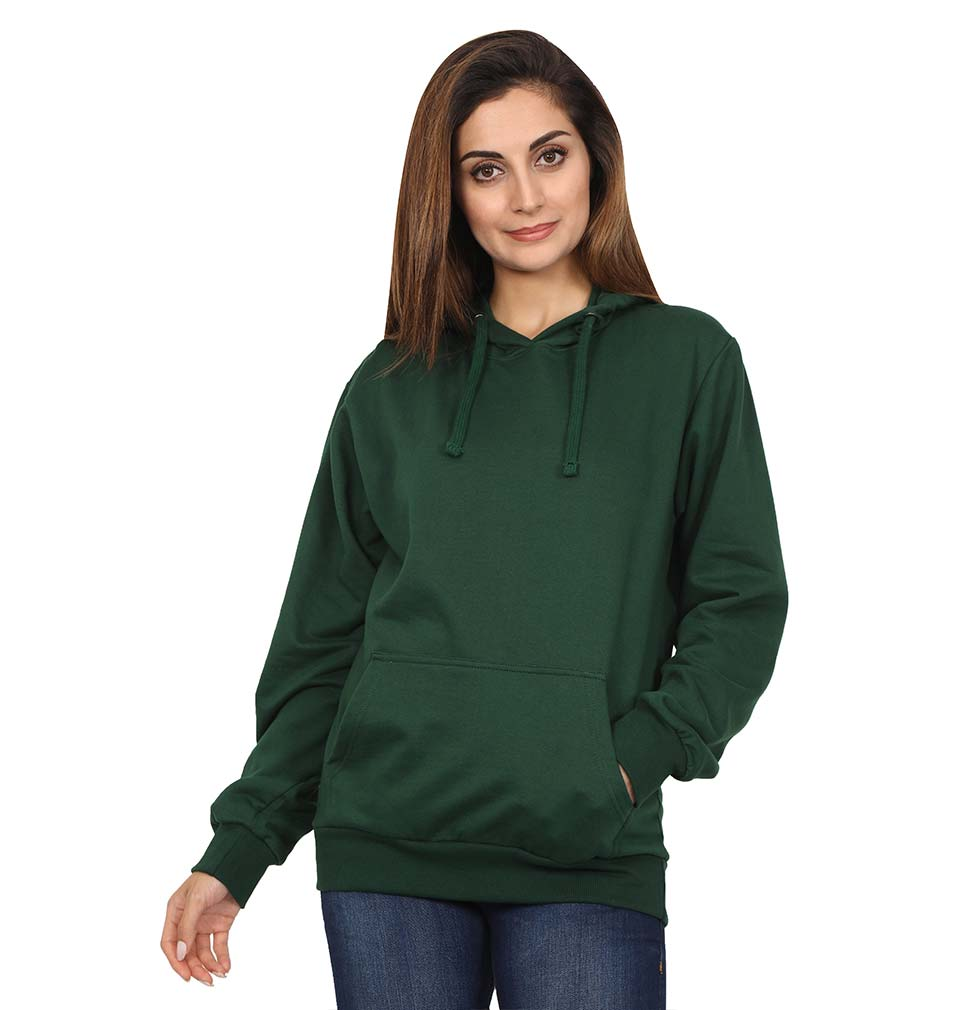 Plain Dark Green Hoodie Sweatshirt for Women