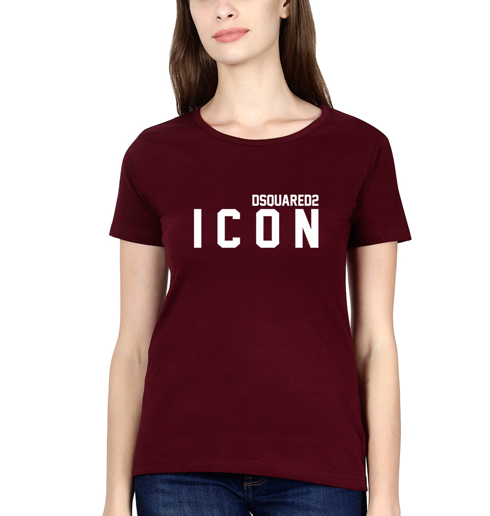 DSQUARED - ICON T-Shirt for Women-XS(32 Inches)-Maroon-ektarfa.com